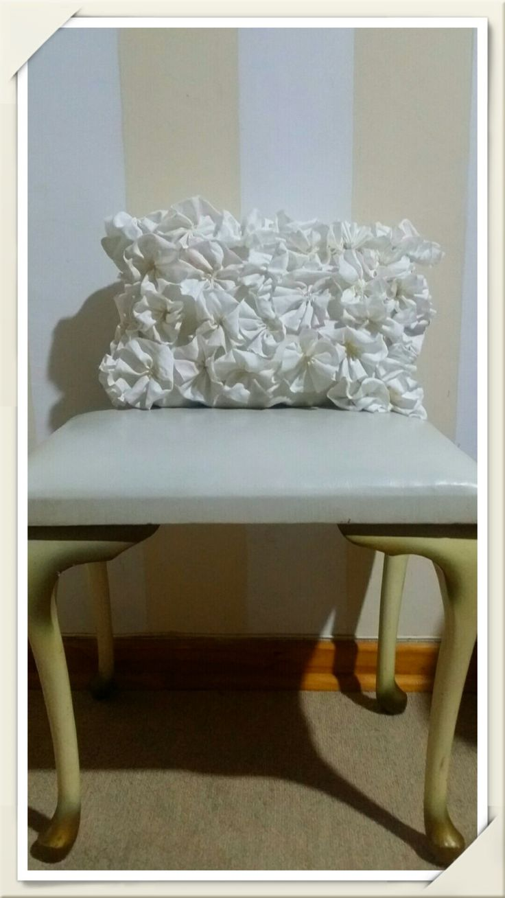 Beautiful white 3d flowered decor pillow by Elesce on Etsy