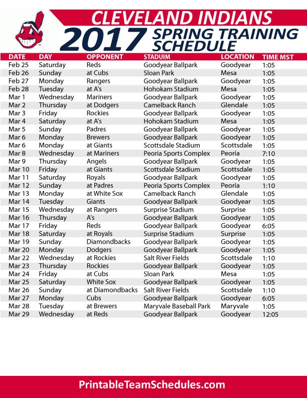 Cleveland Indians Spring Training Schedule 2017. Print Here - http://printableteamschedules.com/MLB/clevelandindiansspringtraining.php
