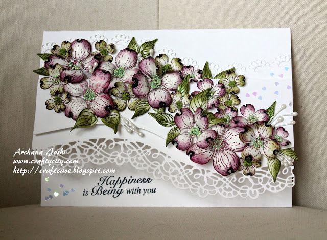 Archi's CraftCave!: Dogwood Flower Card - Valentine Day