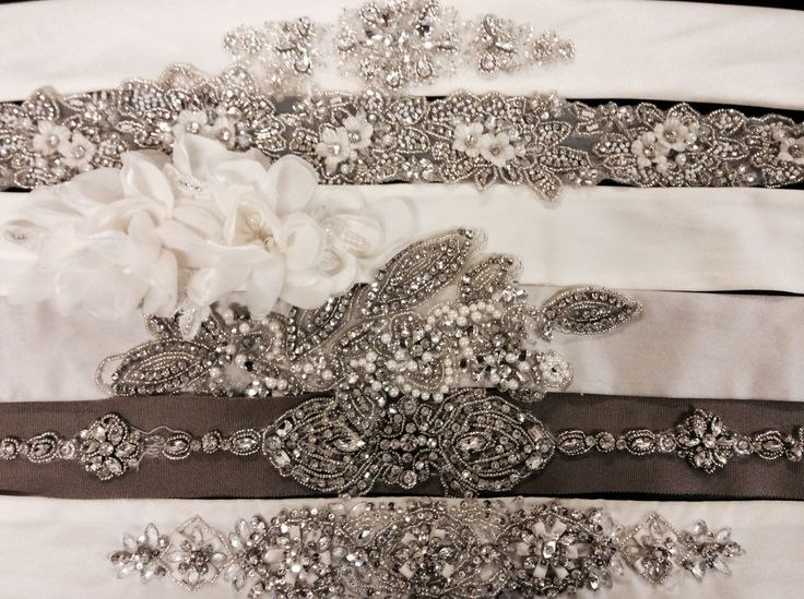 Some of our beautiful sashes at Hobnob bridal