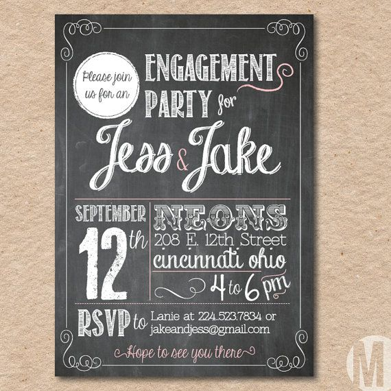 Engagement Party Invitation - Custom, Printable - Chalkboard Style via Etsy