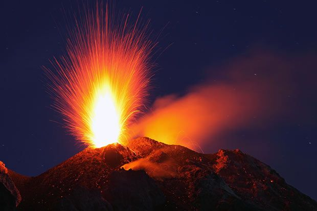 A typical, but strong strombolian eruption from the summit vent of Mt. Stromboli, Italy  Picture: MARTIN RIETZE
