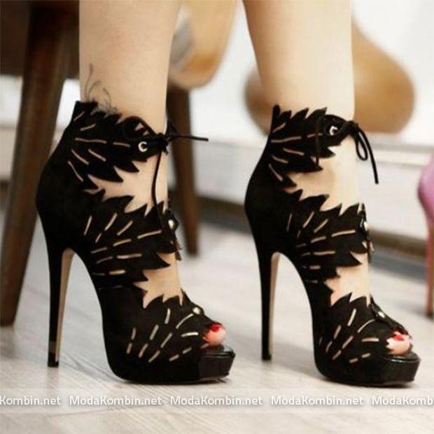 yaprak-desenli-topuklu-ayakkabi-modeli