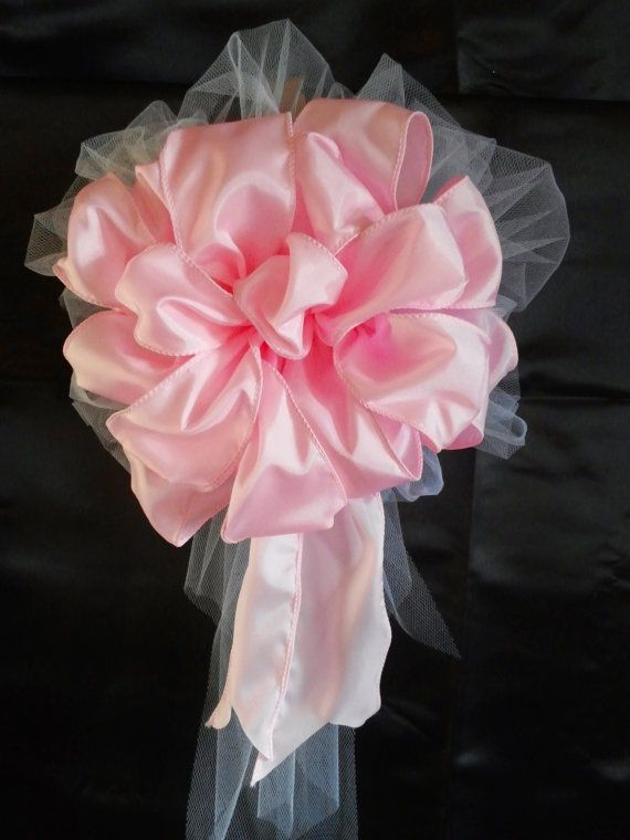 10+Princess+Pink+Satin+And+Tule+Bows+With+by+AsPrettyDoes+on+Etsy,+$65.00