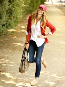 "THE perfect ""soccer mom"" outfit. Because I'm pretty much there :)Fashion, Red Blazers, White Buttons, Clothing, White Shirts, Autumn Style, Classic White, Fall Outfit, Red Cardigan"