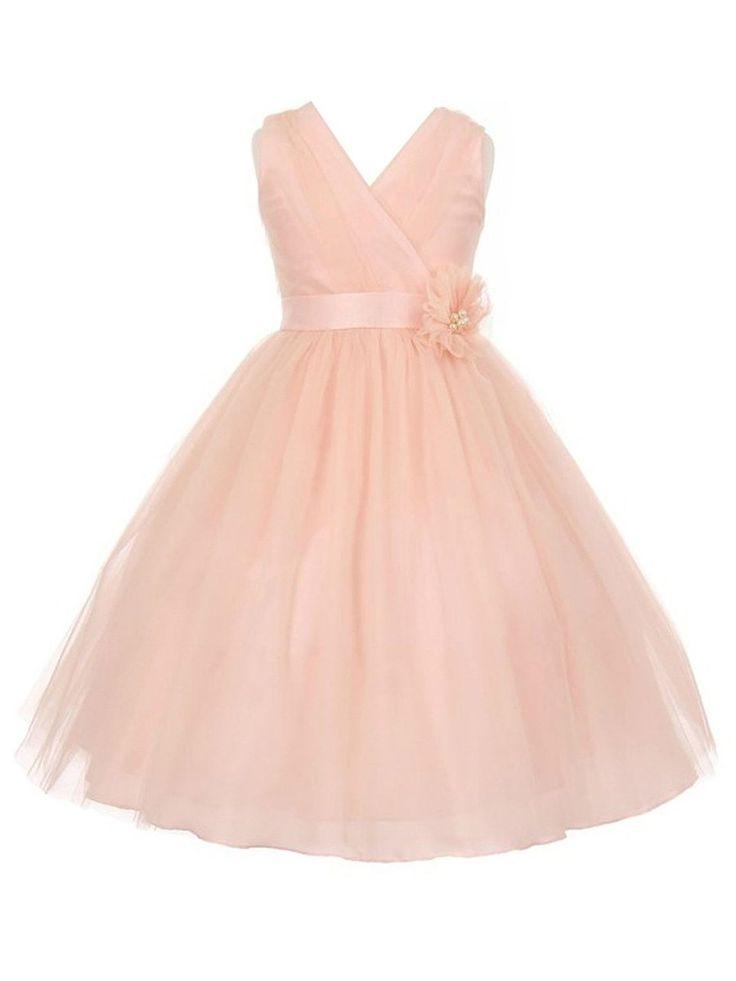 Original Princess V-neck Tulle Floor-length Sashes / Ribbons Flower Girl Dresses