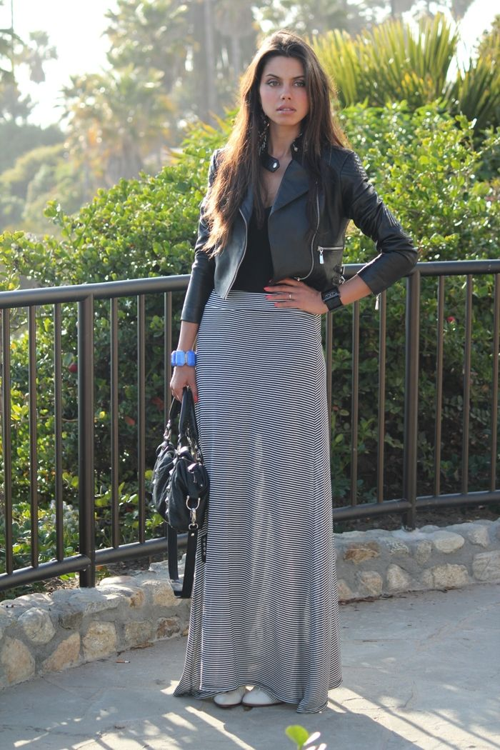 leather jacket with striped skirt