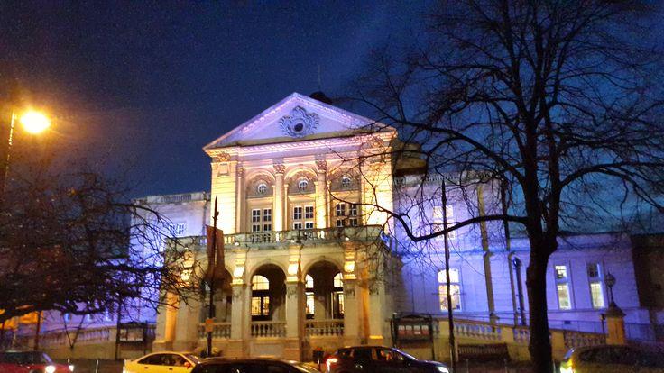 Cheltenham Town Hall at night.