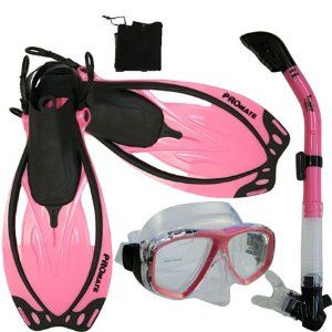 PROMATE Snorkeling Scuba Dive Mask Fins DRY Snorkel Gear Set. Need for Hawaii!!: