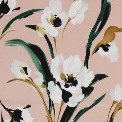 Satin støvet rosa med hvide blomster