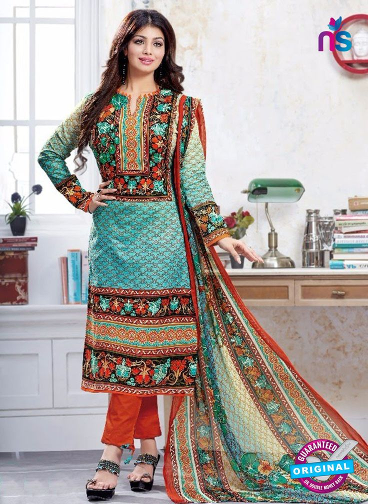 SC 13226 Multicolor and Sea Green Silk Crape Straight Suit