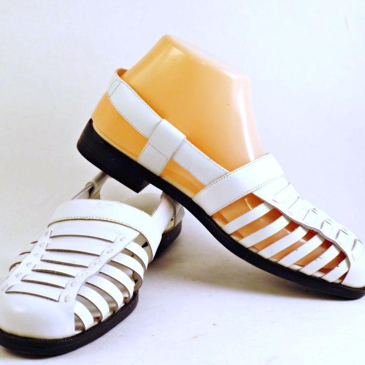 a7cfad73496b Womens Slingback White Leather Sandals Chicory 7W Fisherman Sheree Closed  Toe