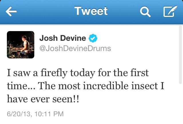 Josh saw a firefly for the first time! (: They don't have fireflies in London???