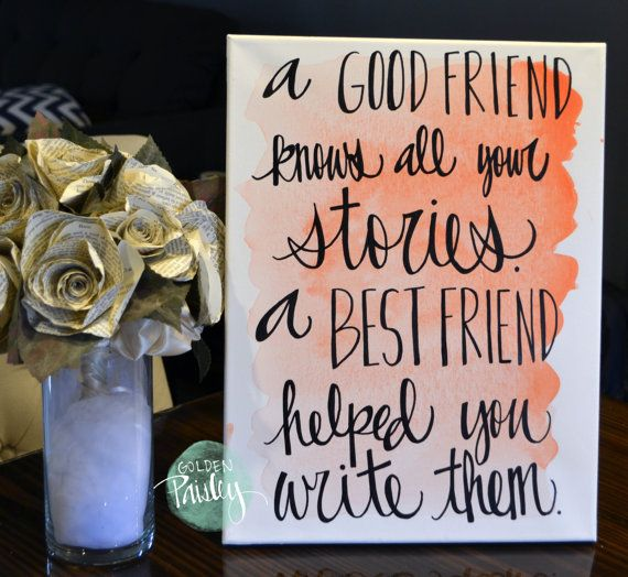 Bridesmaid Gift Watercolor Friendship Quote by GoldenPaisley