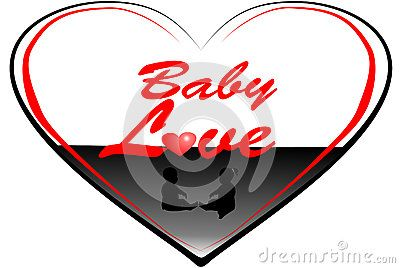 Silhouette of two small babies in  heart shapes with text graphics baby love.