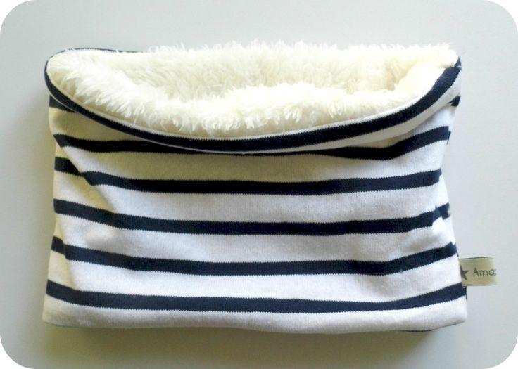 Cache cou tube Snood bébé style marin bleu marine et blanc