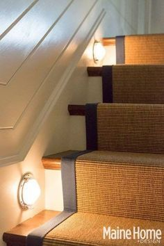 Blue Nautical Decor in an Elegant Maine Home. Stair lights! Love the runner on stairs!