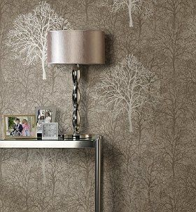 Who says wallpaper is tacky? This is a modern tree silhouette wallpaper.