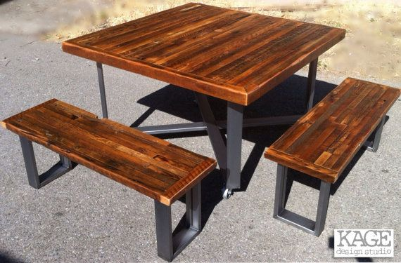 custom indoor outdoor rustic industrial modern reclaimed wood picnic style dining table on. Black Bedroom Furniture Sets. Home Design Ideas
