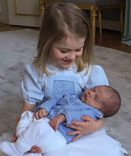 March 2016. New photos of Princess Estelle of Sweden taken with newborn Prince Oscar Carl Olof