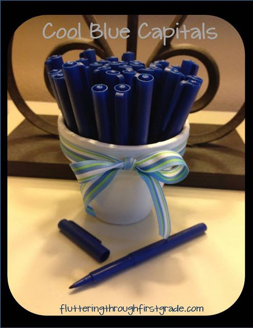 I love this idea! One of my favorite tricks i've learned from a blog. Fluttering Through First Grade: Cool Blue Capitals