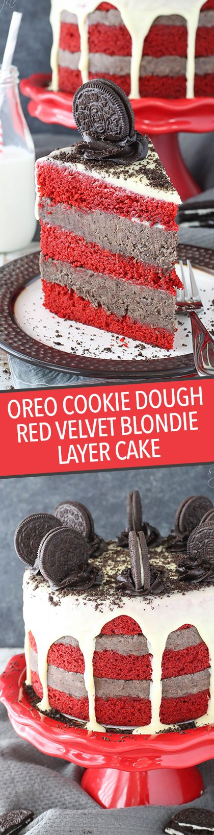 This Oreo Cookie Dough Red Velvet Blondie Layer Cake is totally over the top – but you are definitely going to want some!  image: https://s.w.org/images/core/emoji/2.2.1/svg/1f642.svg     With layers of red velvet blondie and eggless oreo-filled cookie dough, it's a deliciously dense cake.
