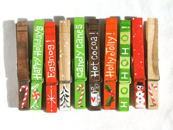 10 CHRISTMAS CLOTHESPINS magnetic hand painted by SugarAndPaint, $30.00