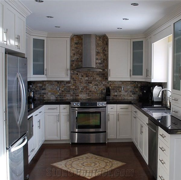 Stone with the black granite, add some color? Earth tones ... on Black Countertops With Black Backsplash  id=67578