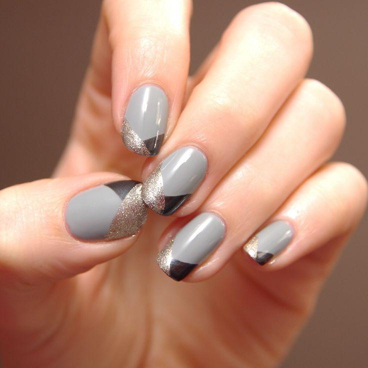 Grey Nail Art: Grey Black And Gold