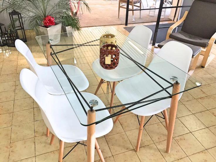 juego de comedor eames mesa vidrio 1,20x80m + 4 sillas dsw