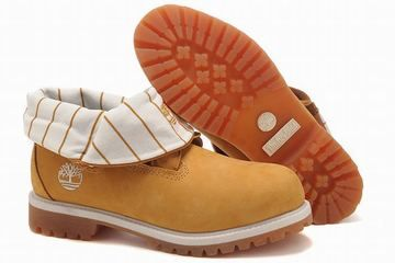 Mens Timberland Roll Top Boots With Wheat Yellow Stripe White Edge