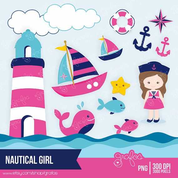 NAUTICAL+GIRL+Digital+Clipart+Nautical+Clipart++Navy+by+grafos,+$5.00