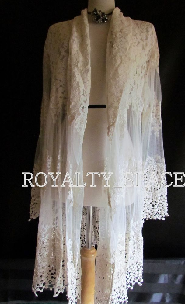 VINTAGE EMBROIDERED LACE VICTORIAN DUSTER JACKET CARDIGAN WEDDING/OCCASION 1X #SCC #Tunic #Formal