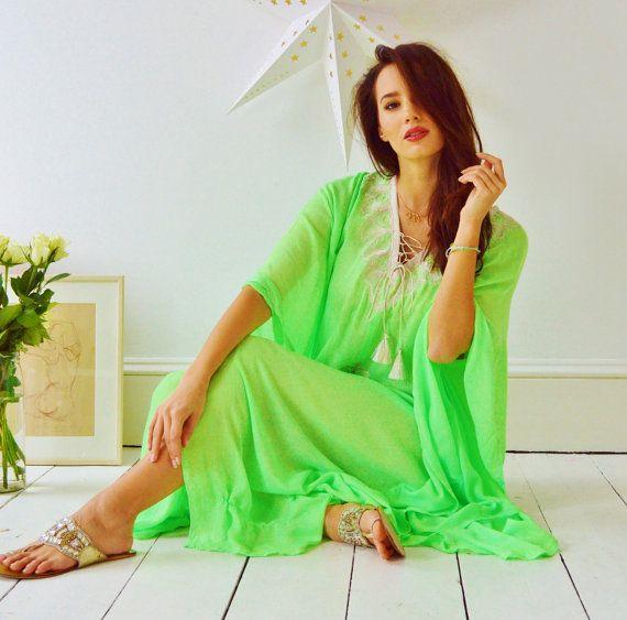 Jaune citron vert broderie Resort Caftan Kaftan-couverture de l