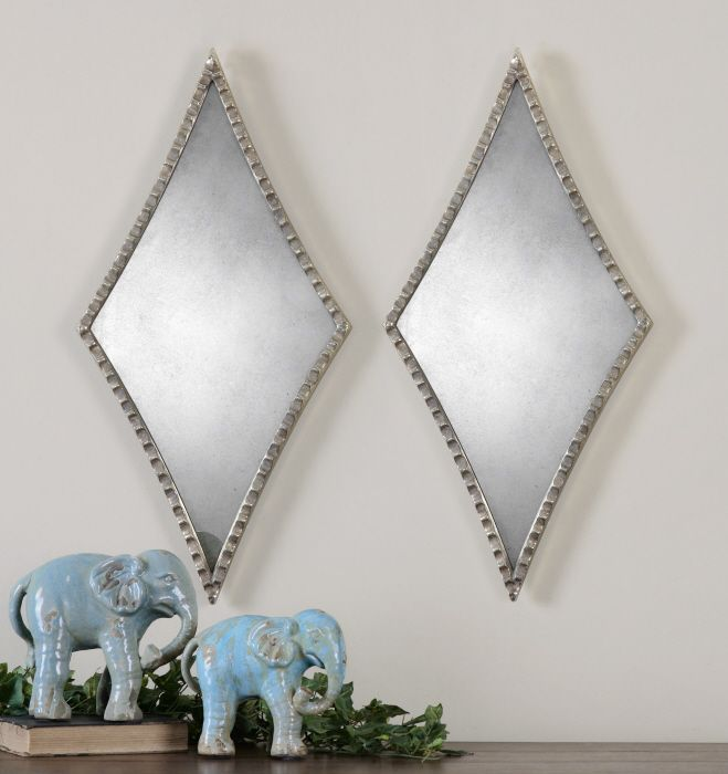 uttermost gelston silver mirror x in set of 2 the uttermost gelston silver mirror u2013 x in set of 2 features antiqued glass and a - Uttermost Mirrors