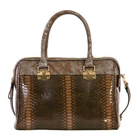 Satchel bag in python fabric.