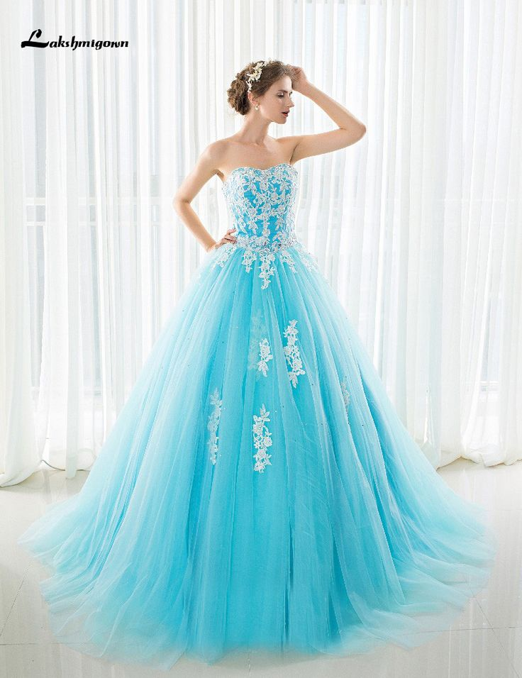 >> Click to Buy << Modest Strapless Ball Gown Wedding Dress With Court Train Plus Size Ice Blue Bridal Gowns vestido de noiva Custom Made #Affiliate