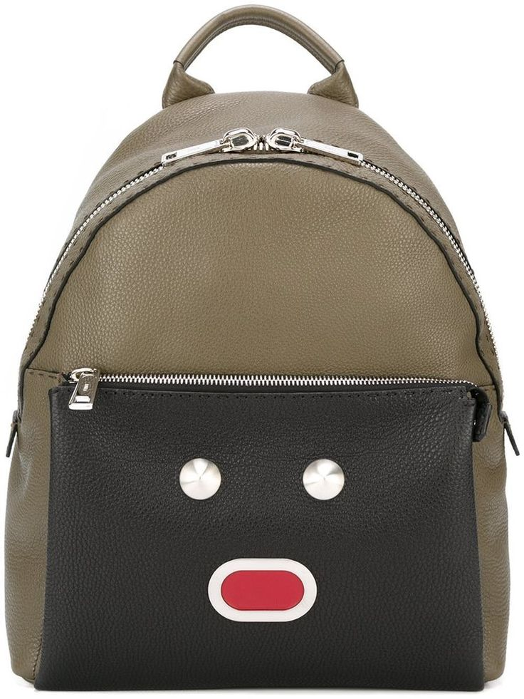 FENDI SELLERIA FACES ANIMOTICON BACKPACK KHAKI GREEN BLACK 7VZ012 9QM F048Q #FENDI #Backpack