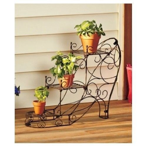 Flower Planter Shoe Shaped Metal Spring Plant Stand 3 Tiered Flower Planter New