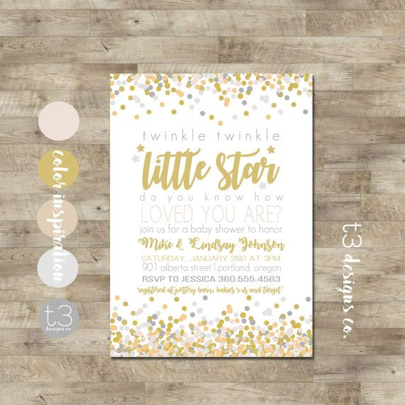 Twinkle Twinkle Little Star Baby Shower Invitation, Gender Neutral Invite, Little Star Baby Shower Invite, Baby Shower, Gold, Silver, 14883