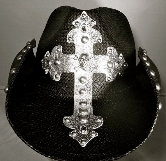 Hey, I found this really awesome Etsy listing at https://www.etsy.com/listing/74596799/handmade-custom-cowboy-hat-with-skull