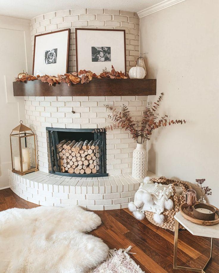 Home Edit: Fall Decor | Cella Jane Fall Fireplace Decor, Fall Mantel Decorations, House Decorations, Tall White Vase, White Vases, Cella Jane, Fall Garland, Metal Lanterns, Fall Candles