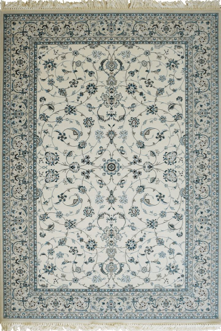 Caspian Persian Wool Border Rugs  75187 White Caspian Persian rugs have been crafted using premium wool featuring hand knotted fringes. A heavy quality rug that is beautifully soft to the touch with classic patterns inspired by master weavers of old, a touch of luxury for modern or classic spaces.