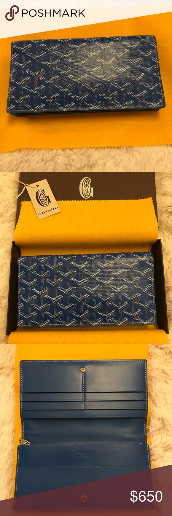 Goyard Electric Blue Wallet - Excellent Condition Beautiful electric blue Goyard Wallet with snap closure.  Has 6 credit card slots, one large pocket, zippered section and two small pockest.  Purchased April 2017 from Miami Maison Goyard store.  Very gently carried.  Ships with Goyard box and dust cloth.   Style name is Portefeville Richelieu 2.  Open to reasonable offers.  Will not sell outside of Poshmark site/app. Goyard Bags Wallets
