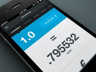 Flat Ui Design iphone App Conversion / Currency