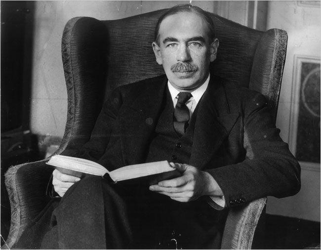 Famous, influential British economist, John Maynard Keynes reads.