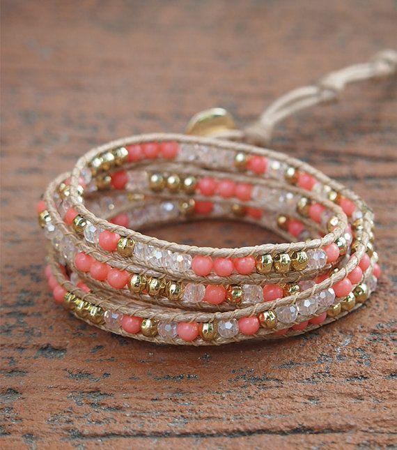 Pink coral mix stone wrap bracelet, Boho bracelet, Bohemian bracelet, Beadwork bracelet