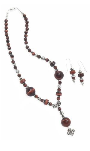 Single-Strand Necklace and Earring Set with Red Tigereye Gemstone Beads and Sterling Silver Beads