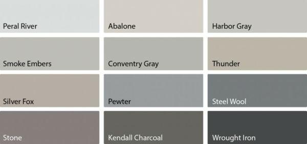 graue Wohnzimmerdekoration verschiedene Graustufen der Wandmalerei