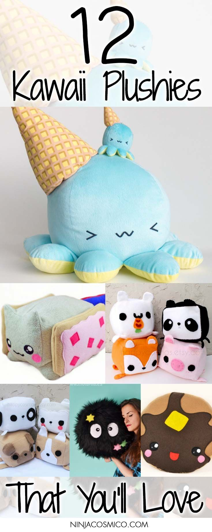 Check these 12 Kawaii Plushies! They are cute, cozy and also fluffy! Perfect for house decoration! Read the article right here: http://ninjacosmico.com/12-kawaii-plushies-that-youll-love/